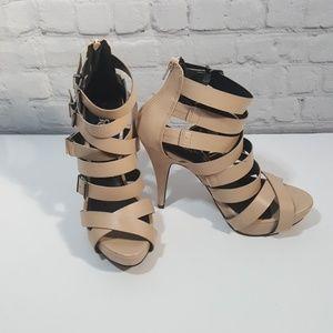 Rock republic nude strappy high heel sandals 8.5m